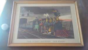 Vintage Print in Frame: The Night Express: The Start - Train