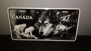 """Wolf metal licence plate style plate  6""""x 12"""""""