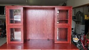 Solid wood cherry stained oak desk w/ cabinet & drawers