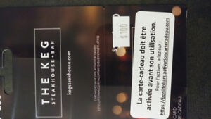 """Cartes cadeaux """"The Keg"""" de 200.$ pour 180.$"""