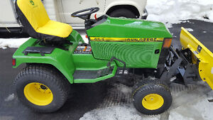 "John Deere 455 Diesel Tractor,54"" Mower and 54"" Angle Plow"