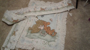 Winnie the Pooh comforter and bumper pads