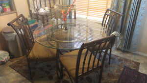 "48"" Round glass top antique bronze 4 chair with hutch"