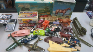 Vintage 1970's model lot with some boxes. Cars horses military