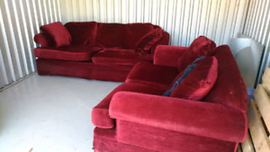 Two-piece red velvet couch sofa set