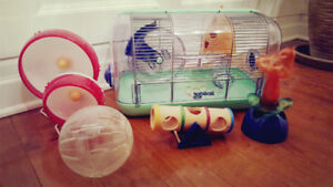 Cage pour Hamster Habitrail et roues d'exercice Kaytee