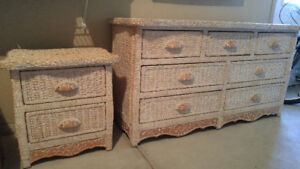 Wicker dresser & matching night table from Pier 1 for sale.