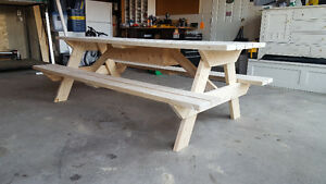 8' Handmade Picnic Table w/Drink Storage Container