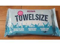 Festival Towel Size Body Wet Wipes. Glastonbury V Festival etc.