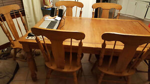 kitchen table set 6 chairs and table with leaf oak solid wood