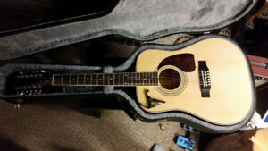 12 string Epiphone Guitar (with Guitar Case and Kapo)