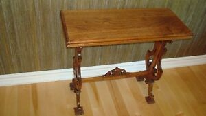 Lyre-trestle side table walnut.  Ca 1920