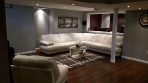 Sofa White, sectional with additional single chair +coffee table