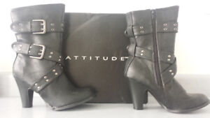 BRAND NEW, IN BOX, Attitude Boots, Black, Mid-High Heels, Size 6