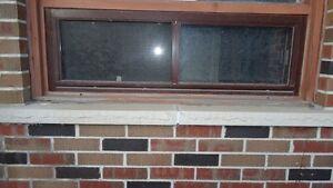 Window - 48(w) x 15, Aluminum, Brown, Double Sliding, Basement
