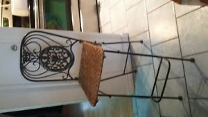 wrought iron and bamboo chairs