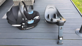 Baby car seat + Cybex car seat safety base/holder