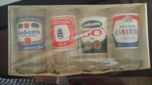 Set of 4 New /Vintage Beer Glasses 50 yrs old never opened NEW