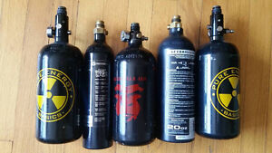 3 HPA Paintball Tanks, 2 CO2 Paintball Tanks