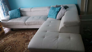 Price Drop - White Leather Modern Sectional
