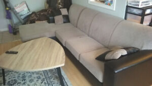 Sectional + Coffee Table + TV + Shelf + Glass Dining Table++