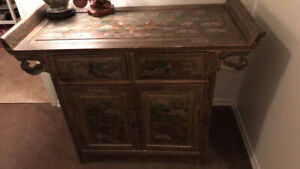 GORGEOUS CHINESE, ASIAN INFLUENCE, HAND-PAINTED CABINET