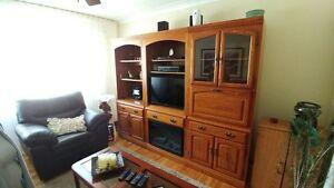 bibliothèque murale 3 sections comprend meuble pour télé