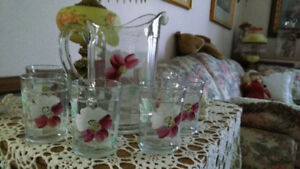 Antique Pitcher, hand painted, with six glasses. set for $20.00.