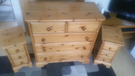 Solid pine chest of drawers and 2x Bedside cabinets