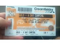 Creamfields 4 day gold camping 200 ono