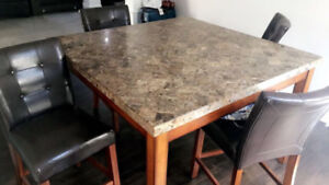 Granite High Dinning Table with 6 Leather High Chairs