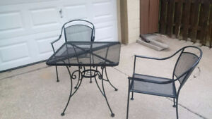 1 PATIO STEEL TABLE AND 2 CHAIRS $90.00 OR BUY WHOLE LOT