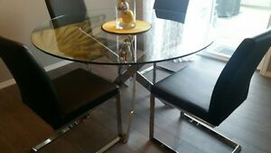 Tempered glass and Chrome Kitchen table and 4 chairs