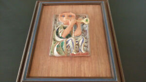 Vintage old ceramic tile framed