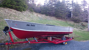 16ft Aluminum Boat with motor and trailer