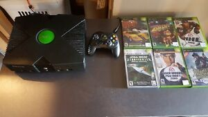 XBox, 6 games, TV stand, Side table