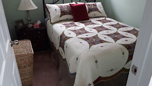 Scalloped Quilted Spread, Bed Skirt and Decorator Cushion