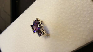 925 Ring, Purple Stone Size 7
