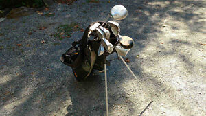 Left handed Golf clubs and cart