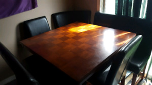 Solid wood bistro style table and chairs
