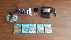 Wii U Console with 6 games and game cube controller port