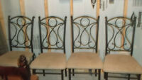 4 BLACK METAL CHAIRS WITH CLOTH SEATS