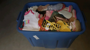 6 - 12 month baby girl clothes full big bin