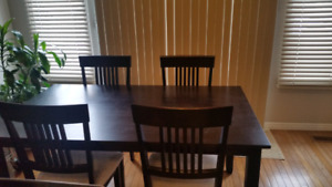 Espresso coloured wood table & 4 chairs set