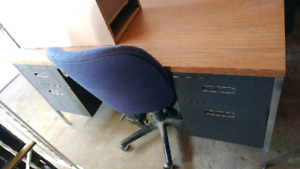 Steel desk Chair & Filing cabinet