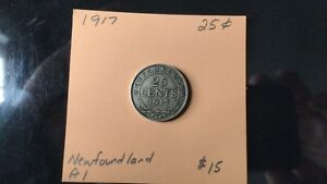 1917 Newfoundland 25 cent pieces