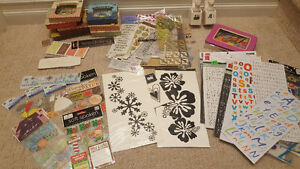 Selection of scrapbooking supplies.