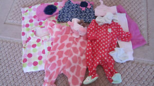 Girl clothes lot + NEW leather shoes 0-6 months