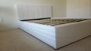 Brand NEW! #102 Queen size White Faux Leather Bed Frame