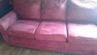 Microfibre, burnt red couch and beige recliner. Good condition.